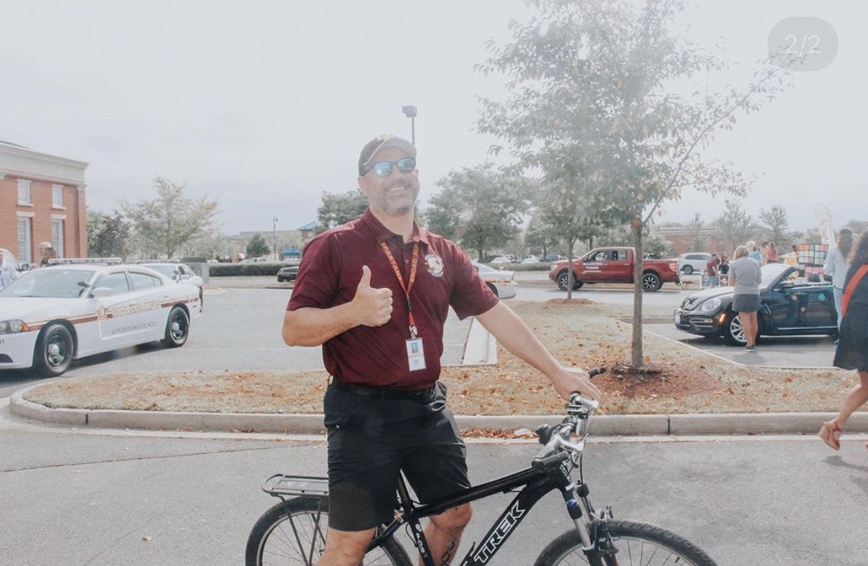 Mr. Runfolo crushing miles on his bicycle ride!