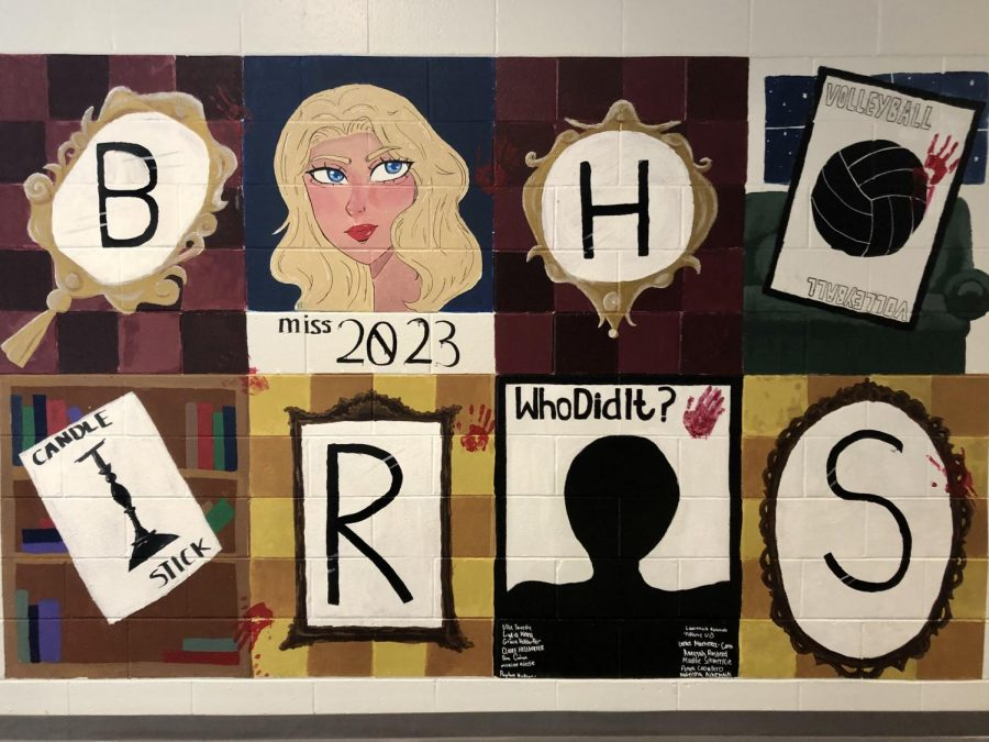 The Clue based mural painted by the juniors.