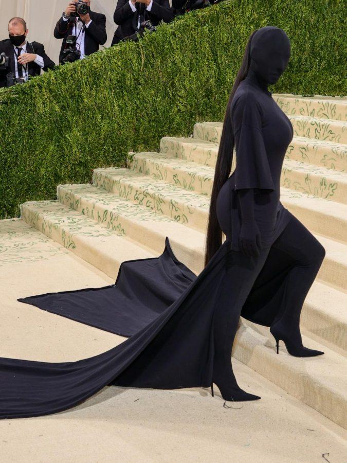 Kim Kardashian in full black Balenciaga bodysuit